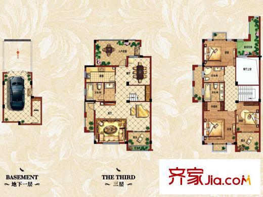 银亿上尚城三期边套.上层叠拼b户型 3室2厅3卫1厨
