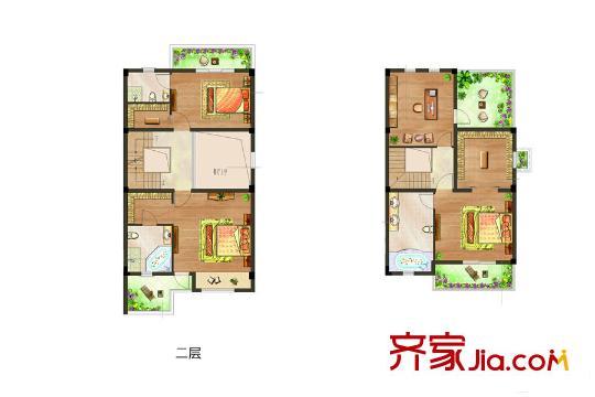 中建城中墅联排别墅边套户型 5室2厅3卫1厨