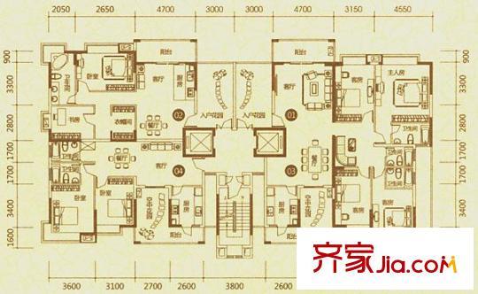 新世纪领居二期别墅户型图123栋01/03单元 2室2厅2卫1厨