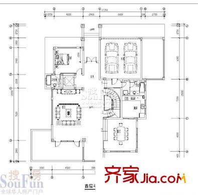 锦绣山河别墅户型图别墅2首层 5室2厅3卫1厨