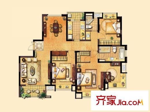 同济城市阳光户型图c2户型平面图 4室2厅2卫1厨