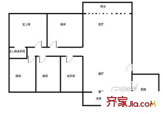 泰和花园户型图四房两厅两卫面积约148平方米 4室2厅2卫1厨