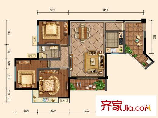 洛森堡新殿二期户型图25号楼标准层4号户型(售罄) 3室2厅1卫