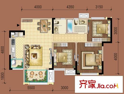 复地御香山3悦3期1,2栋b户型 3室2厅2卫1厨