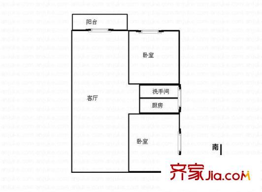 紫晶城二期户型图2室2厅1卫1厨 户型图 2室2厅1卫1厨