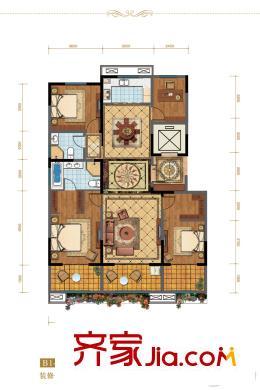 绿地隆悦公馆二期1号楼b1-a户型 3室2厅2卫1厨