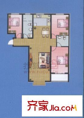 朗月蓝庭户型图三室两厅 3室2厅2卫1厨
