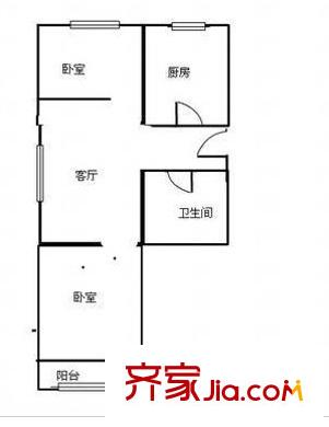 京电北院户型图两室一厅 2室1厅1卫1厨