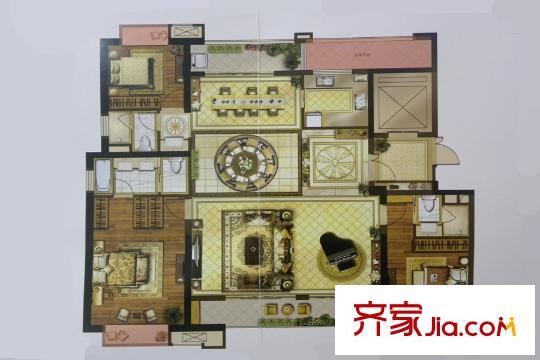 绿地海珀澜庭175平方米大平层户型 3室3厅3卫1厨