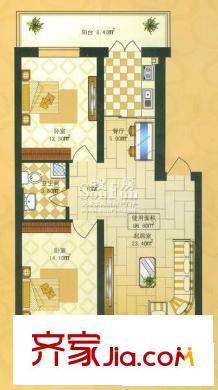 新城花园户型图两室一厅66.60平方米 2室1厅1卫1厨