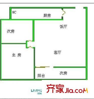 银海花园户型图两室一厅户型图 2室1厅1卫1厨