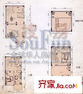 八桂绿城四平方米屋户型 4室2厅3卫1厨