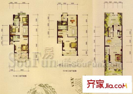 枫林蓝岸别墅户型图t2-n2户型 5室2厅4卫1厨