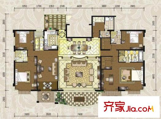 枫林蓝岸别墅户型图别墅1号户型 5室3厅3卫1厨