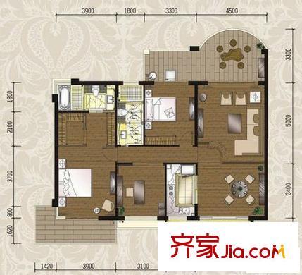 枫林蓝岸别墅户型图别墅3号户型 3室2厅2卫1厨
