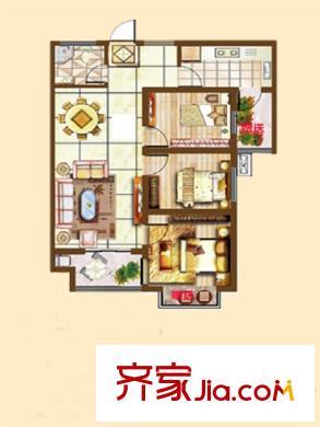 旭洋城市风景一期高层e户型 3室1厅1卫1厨