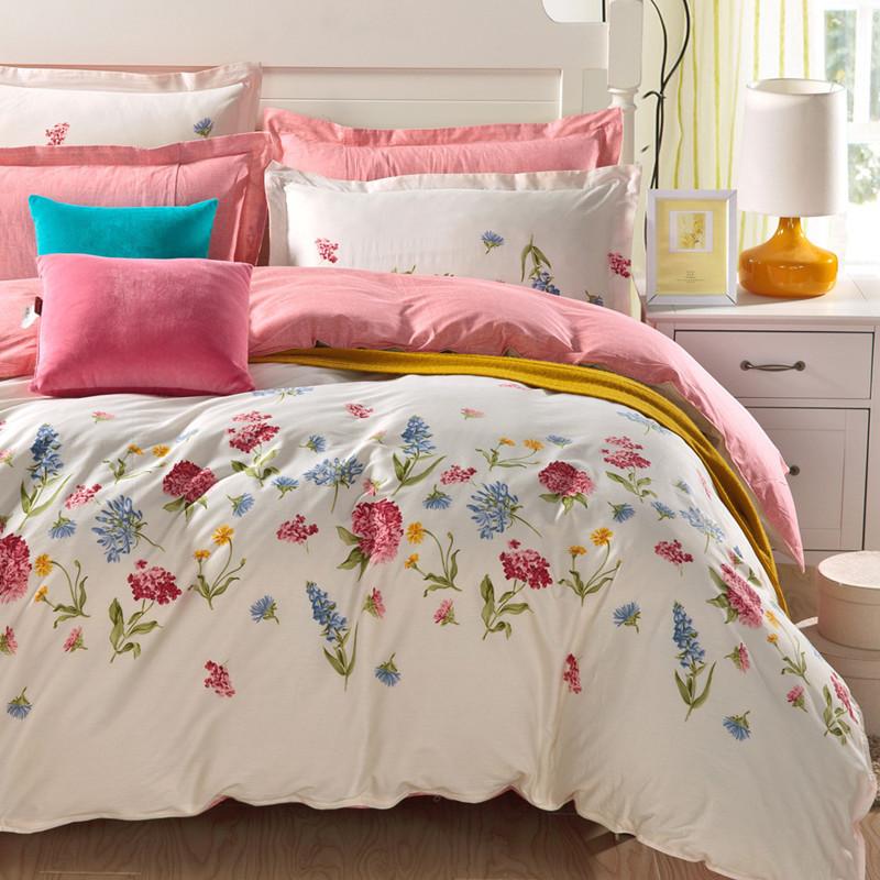 斜纹 棉质 床品四件套 200*230四件套 有被脚带 多种花色可选