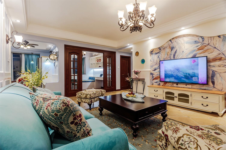 美式风格三居装修客厅地板瓷砖设计_齐家网装修效果图