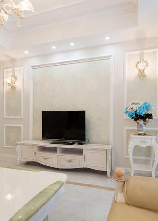 88平欧式风格家电视背景墙图片