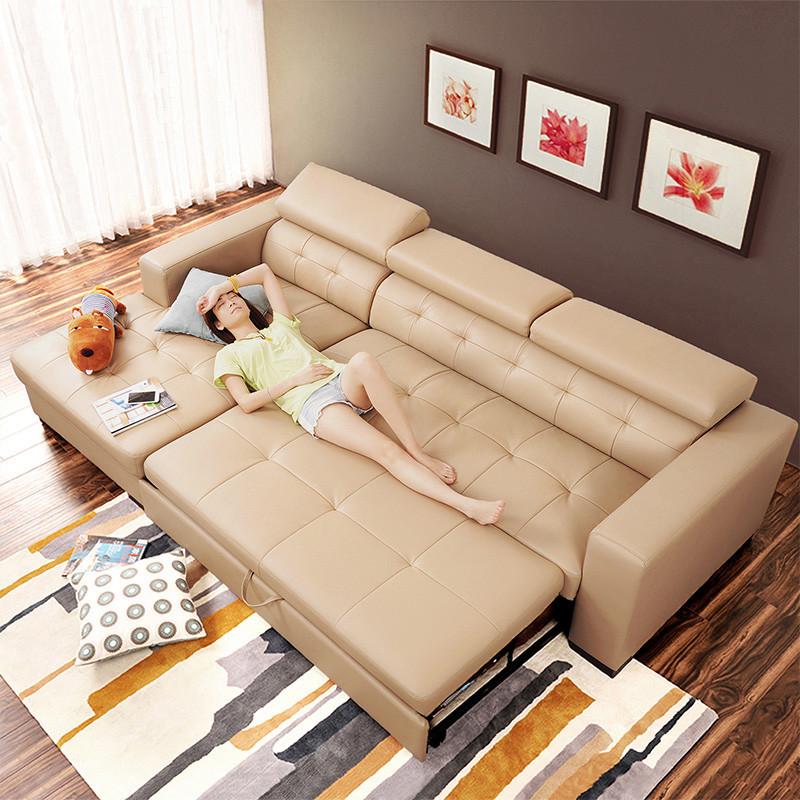 2016年新款功能牛皮沙发客厅皮艺沙发床储物真皮沙发小户型2件转角沙发P1601|时尚大气,实用舒适,小空间大面子,就选四格功能牛皮沙发