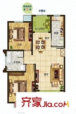 淮安悦达广场一期1#4#楼标准层a1-1边户户型图 2室2厅1卫1厨