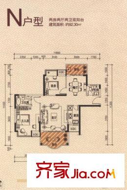 博罗新城建业金域华府n户型 2室2厅2卫1厨