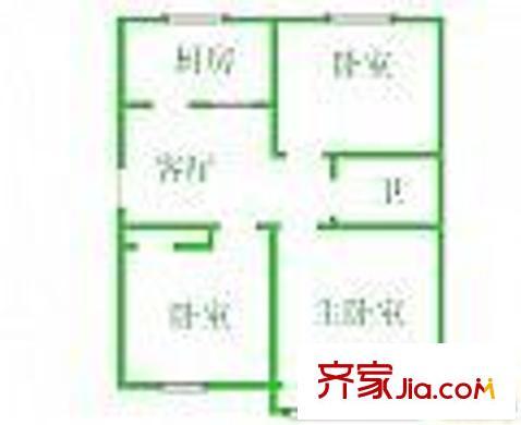 锦绣园户型图12-1 2室2厅1卫1厨