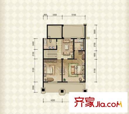 绿地内森庄园别墅户型图天墅02户型二层 1室1厅2卫