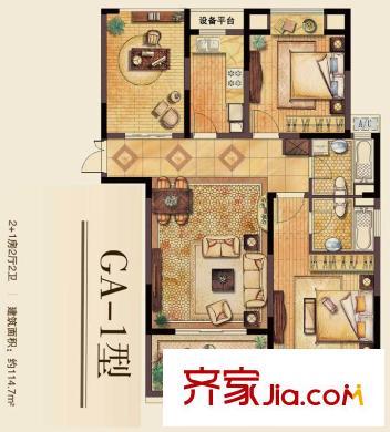 丽湾域户型图一期29#30#标层边户ga-1户型3室2厅2卫114平方米 3室2厅2