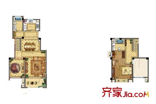 正荣华府二期叠墅t5户型 3室2厅2卫1厨