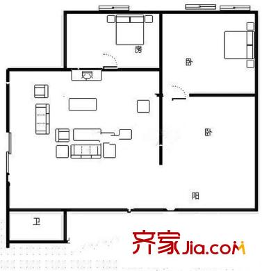 华亮家园户型图三室两厅一厨一卫 3室2厅1卫1厨
