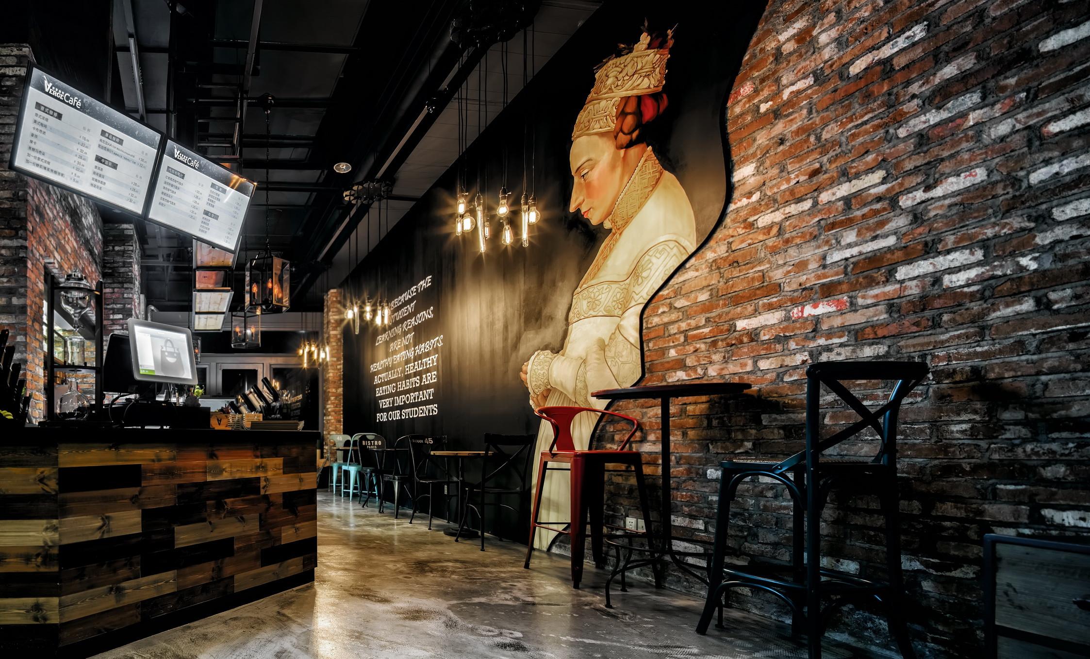 神秘复古咖啡厅装修背景墙设计