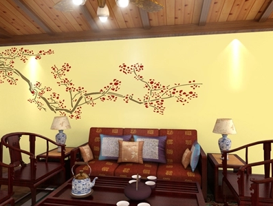 净卫士硅藻泥沙发背景墙装修梅花图案哑光