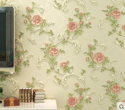 韩式田园浪漫温馨卧室客厅壁纸电视背景墙纸加厚3d无纺布墙纸