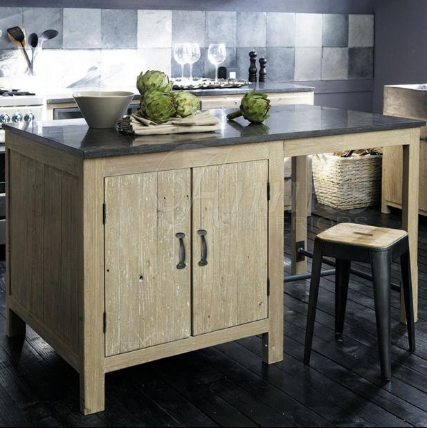 出口法国贝翠卡整体橱柜系列之大理石厨房中岛柜四门