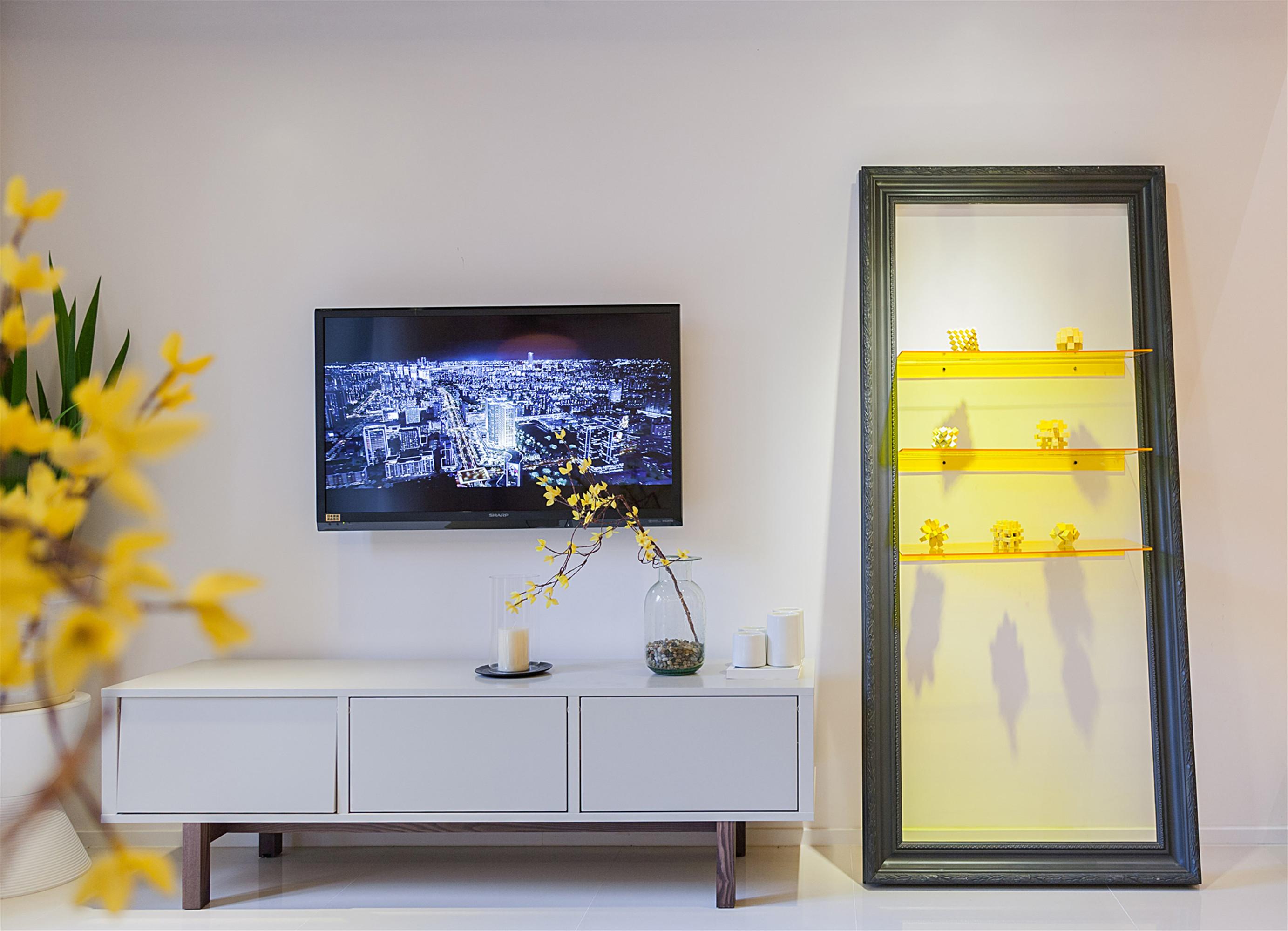90平loft风格家电视背景墙图片