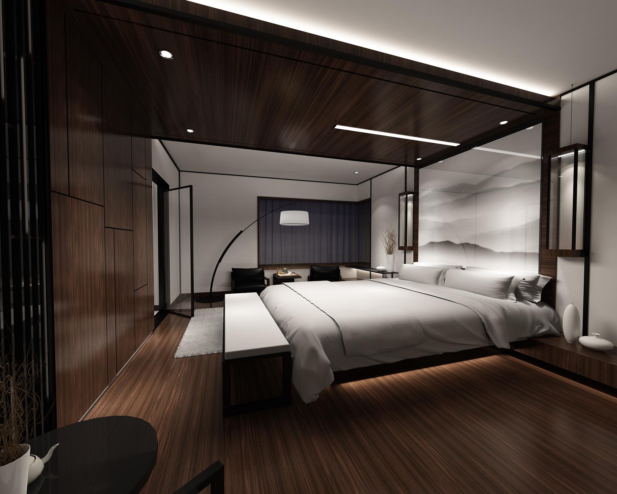130平中式装修卧室效果图