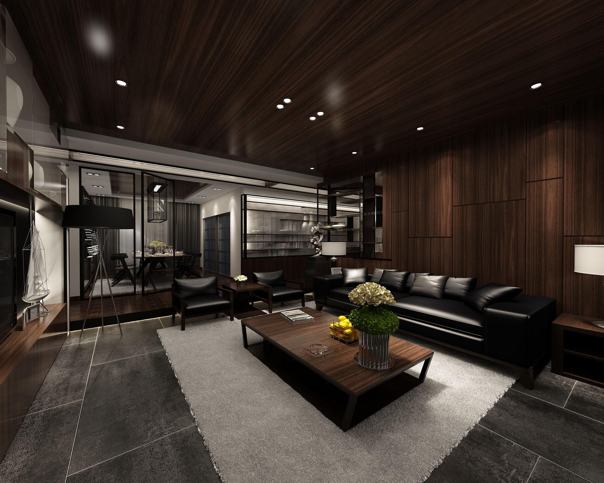 130平中式装修客厅效果图