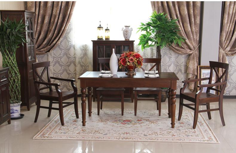 美式乡村白蜡木餐桌 餐椅 饭桌 餐桌椅实木1号