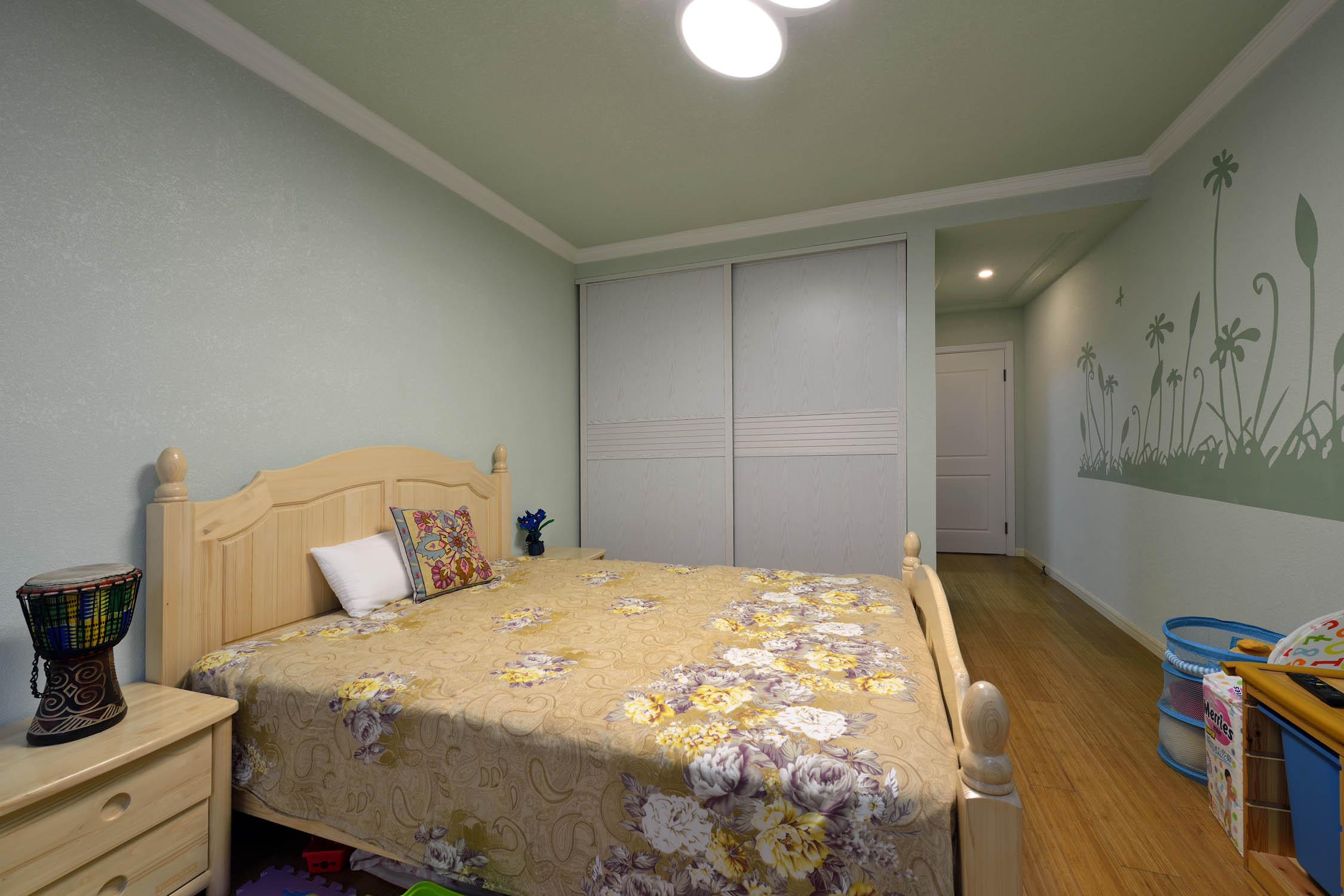 乡村森系美式别墅 卧室背景墙效果图_齐家网装修效果图