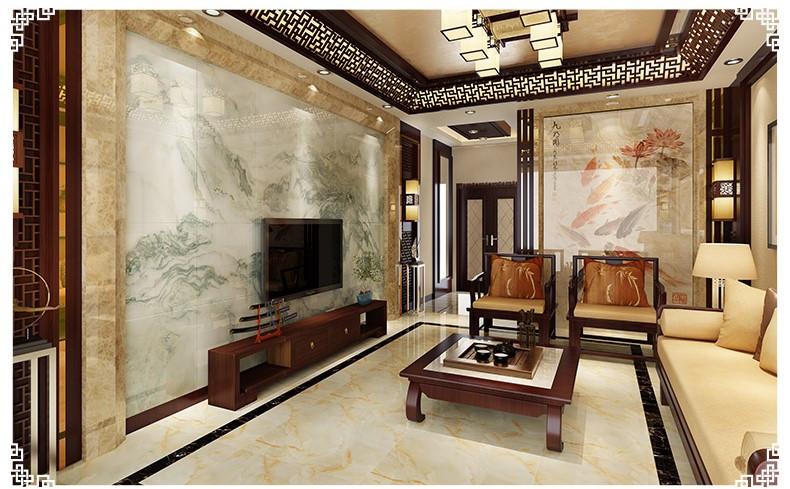 中式瓷砖背景墙3d客厅大理石电视背景墙瓷砖 山水博雅