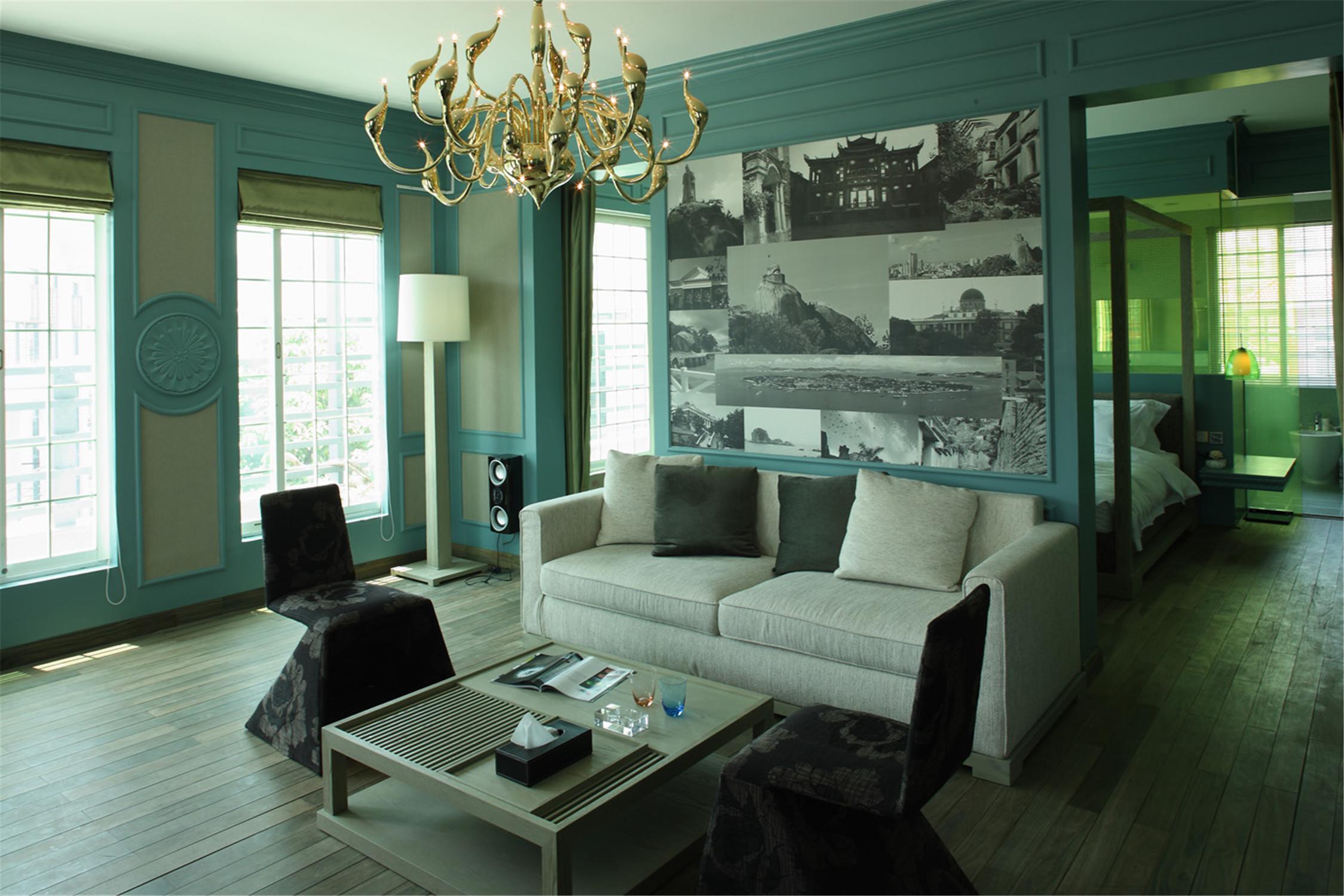 公寓式精品酒店装修沙发背景墙图片