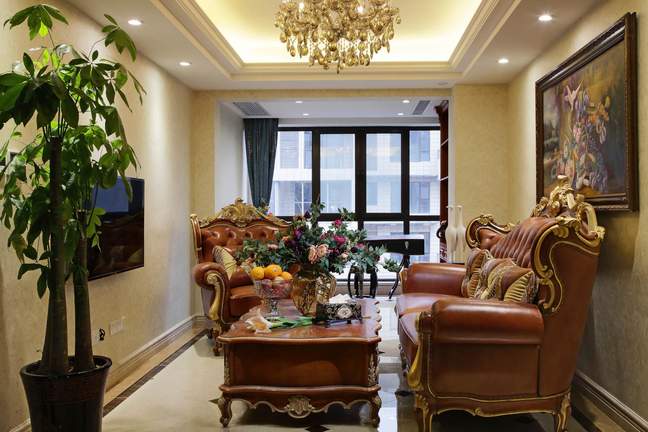 豪华欧式别墅装修起居室设计图
