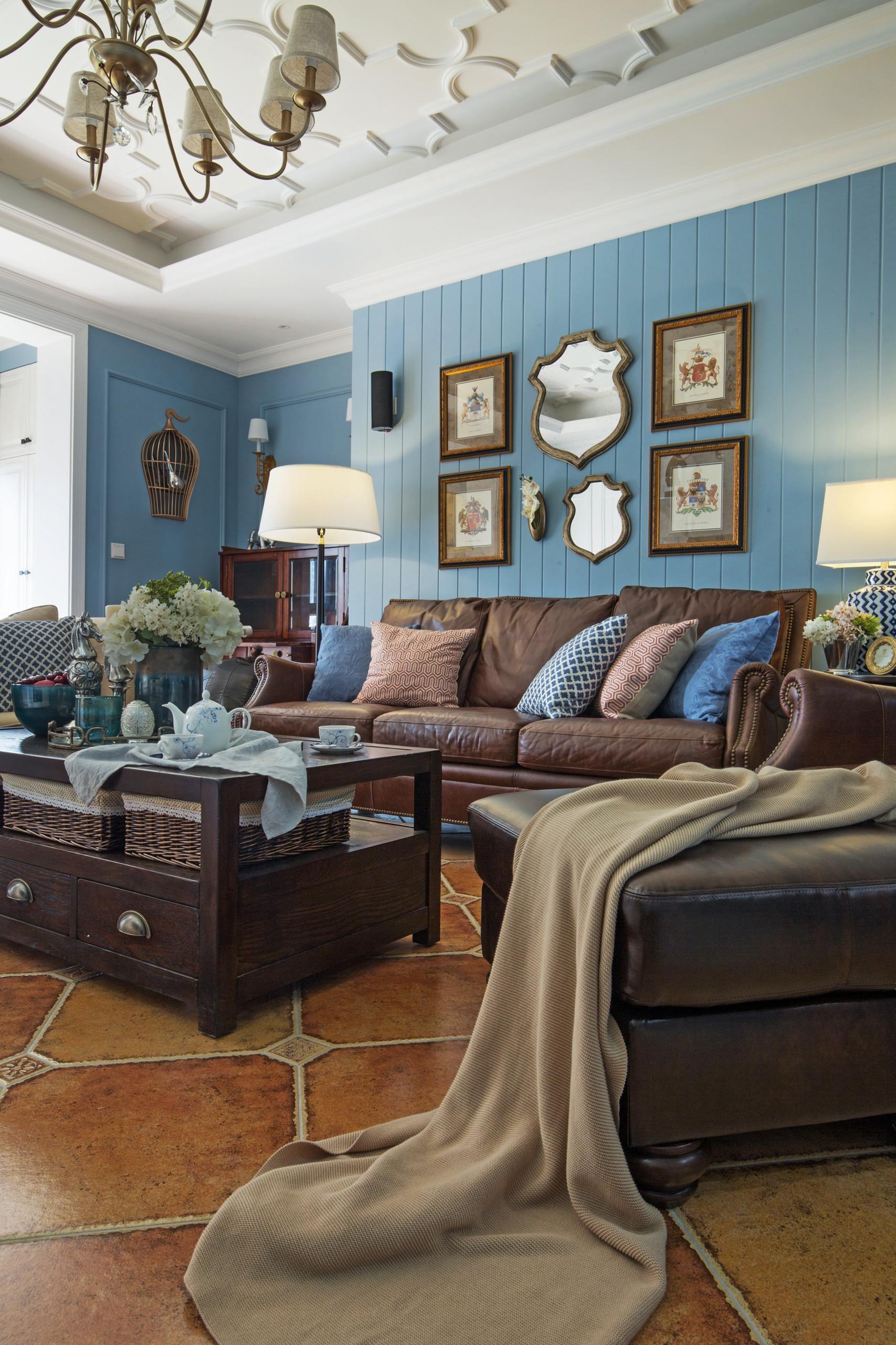 美式风格四居装修沙发背景墙图片