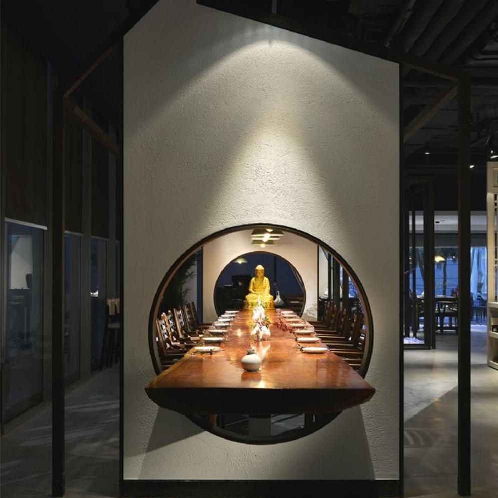 中式禅意餐厅装修设计图