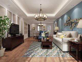 美式三居装修客厅布局图