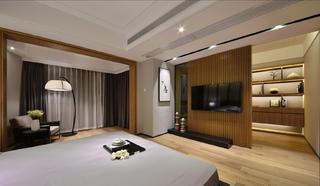 大户型简约中式装修卧室一角
