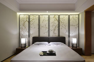 大户型简约中式装修床头背景墙图片