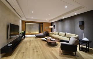 大户型简约中式装修沙发背景墙图片
