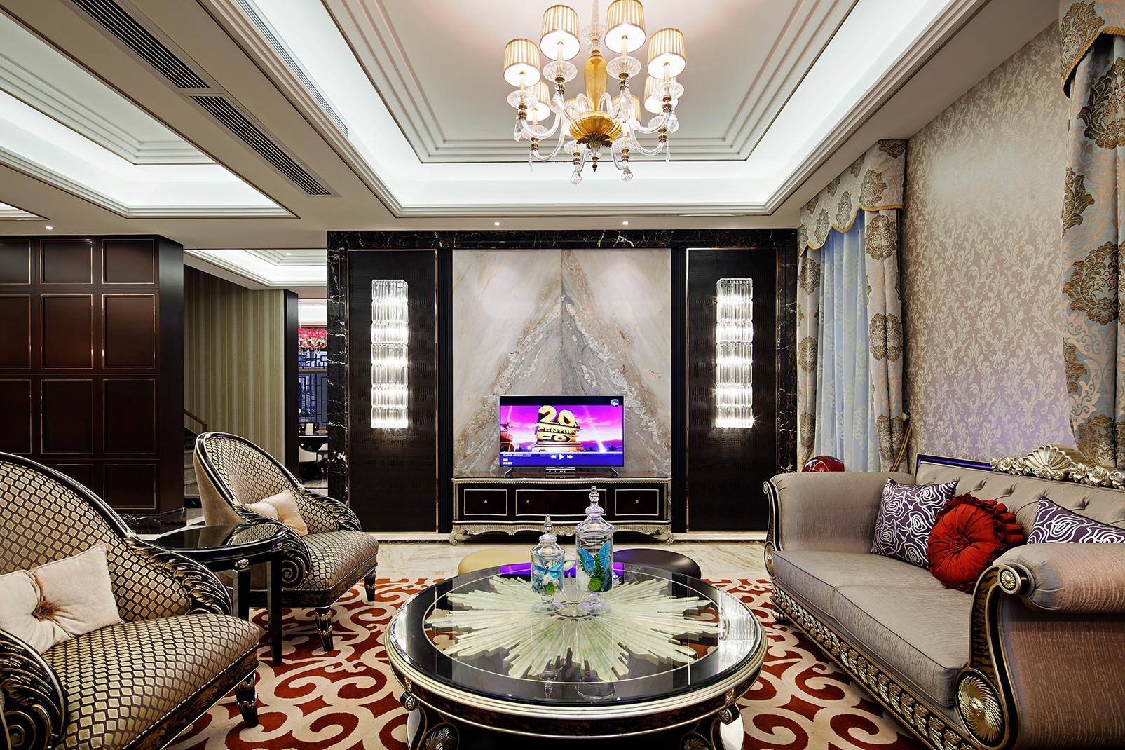 美式别墅装修客厅布局图